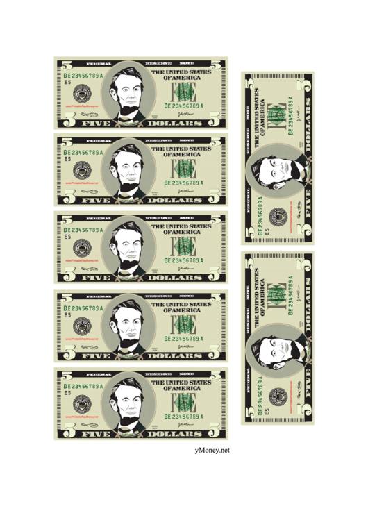 Mini-five Dollar Bill Templates
