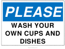 Wash Your Dishes Sign Template