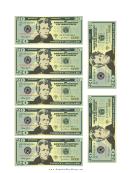 Mini-twenty Dollar Bill Templates