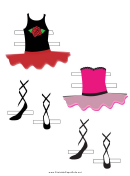 Ballerina Paper Doll Outfits Red Pink