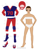 Football Player Paper Doll Female