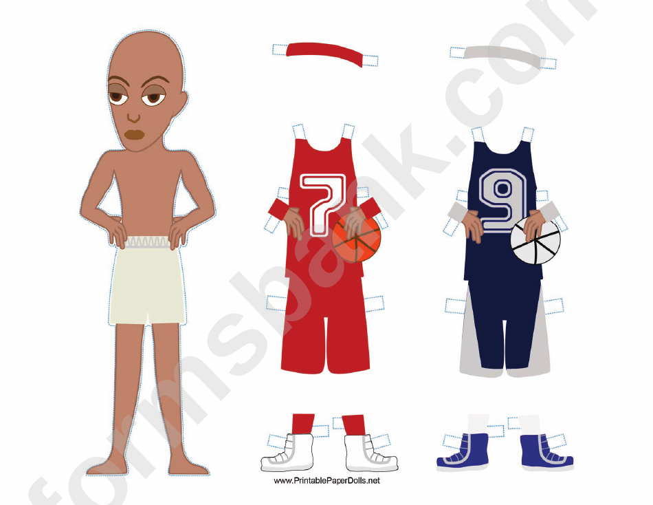 Male Basketball Player With Headband Paper Doll