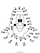 Smiling Clown Face Dot-to-dot Sheet