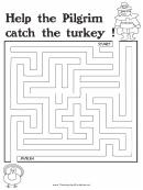 Pilgrim Turkey Thanksgiving Maze Template