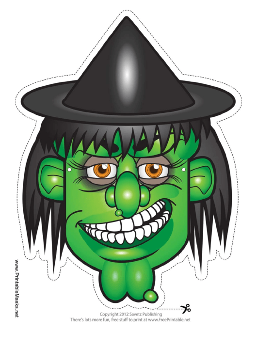 witch hat mask template printable pdf download