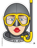 Skin Diver Female Mask Template
