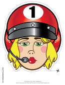 Racecar Driver Female Mask Template