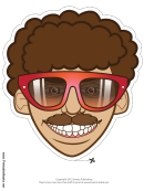 70s Guy Glasses Mask Template
