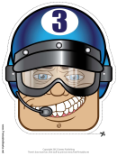 Racecar Driver Male Goggles Mask Template