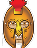 Greek Warrior Male Mask Template