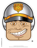 Motorcycle Cop Male Mask Template