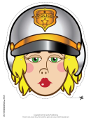 Motorcycle Cop Female Mask Template