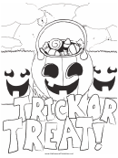 Halloween Trick Treat Coloring Page