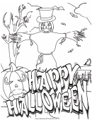 Halloween Scarecrow Coloring Page