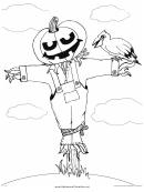 Scarecrow Pumpkin Coloring Page