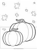 Thanksgiving Pumpkin Leaves Coloring Sheet
