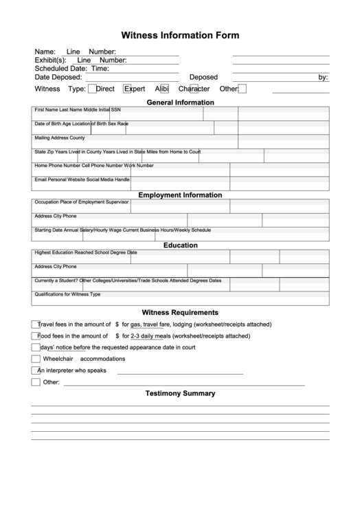 witness information form printable pdf download