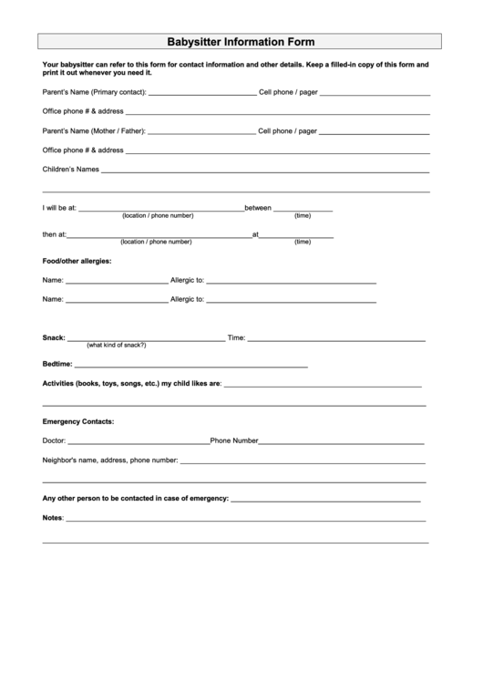 babysitter information sheets templates forms