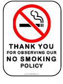 No Smoking Policy