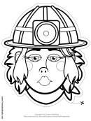 Caver-miner Female Mask Outline Template