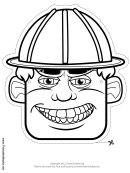 Construction Worker Male Mask Outline Template