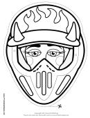 Motocross Female Horns Mask Outline Template