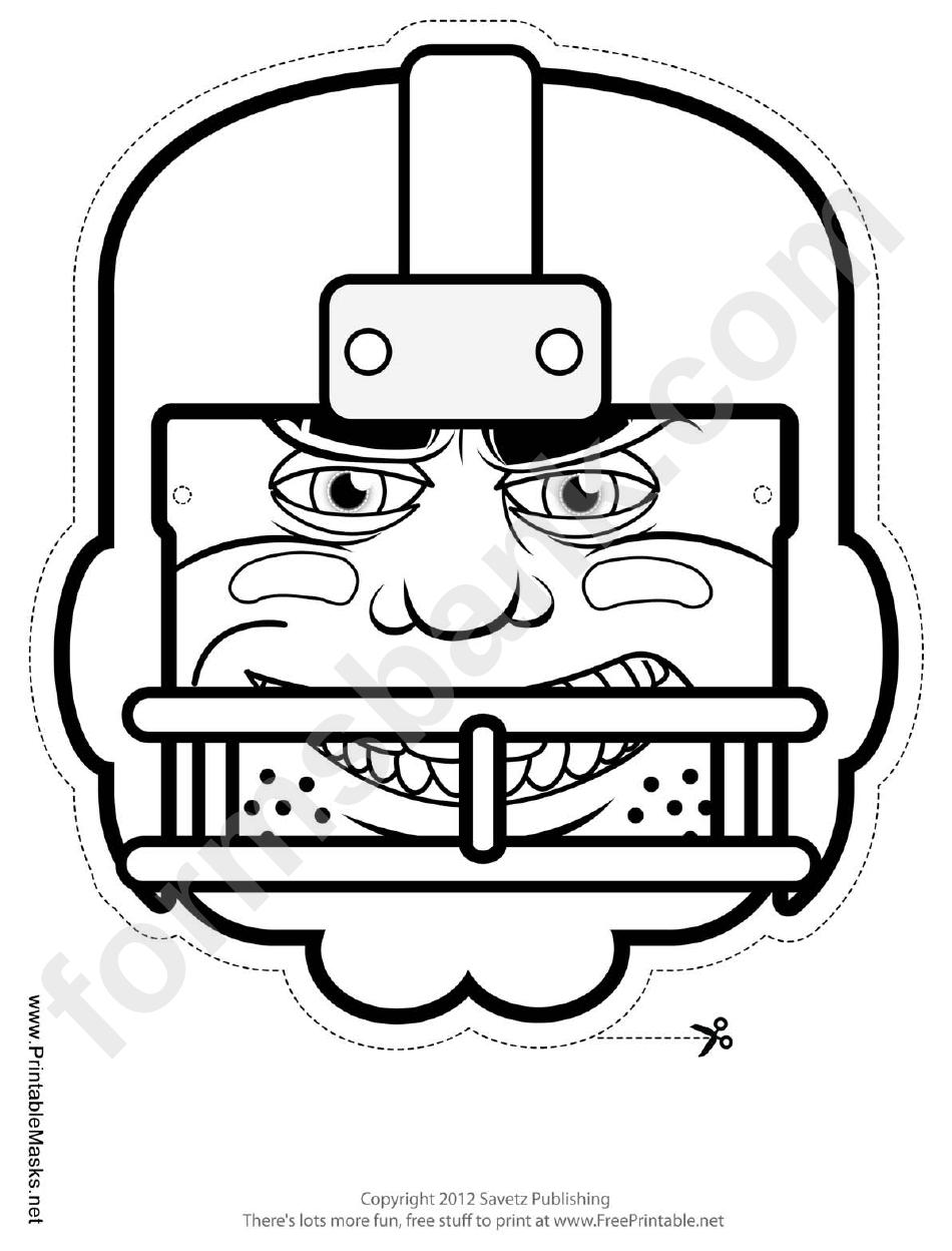 Football Player Mask Outline Template printable pdf download