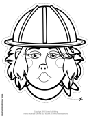Construction Worker Female Mask Outline Template