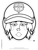 Motorcycle Cop Female Mask Outline Template