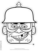 Biker Male Spike Helmet Mask Outline Template