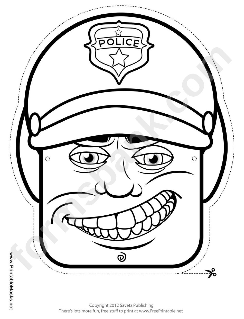Motorcycle Cop Male Mask Outline Template printable pdf download