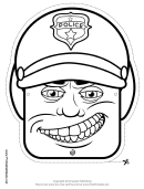Motorcycle Cop Male Mask Outline Template