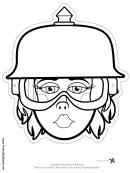 Biker Female Spike Helmet Outline Mask Template