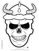 Skull Horns Outline Mask Template