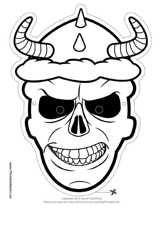 skull horns outline mask template printable pdf download