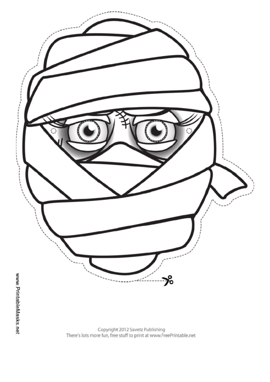 Mummy female outline mask template printable pdf download for Cyclops mask template