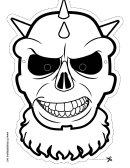 Skull Spiked Outline Mask Template