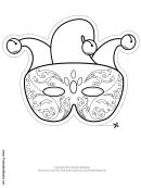 Mardi Gras Festival Outline Mask Template