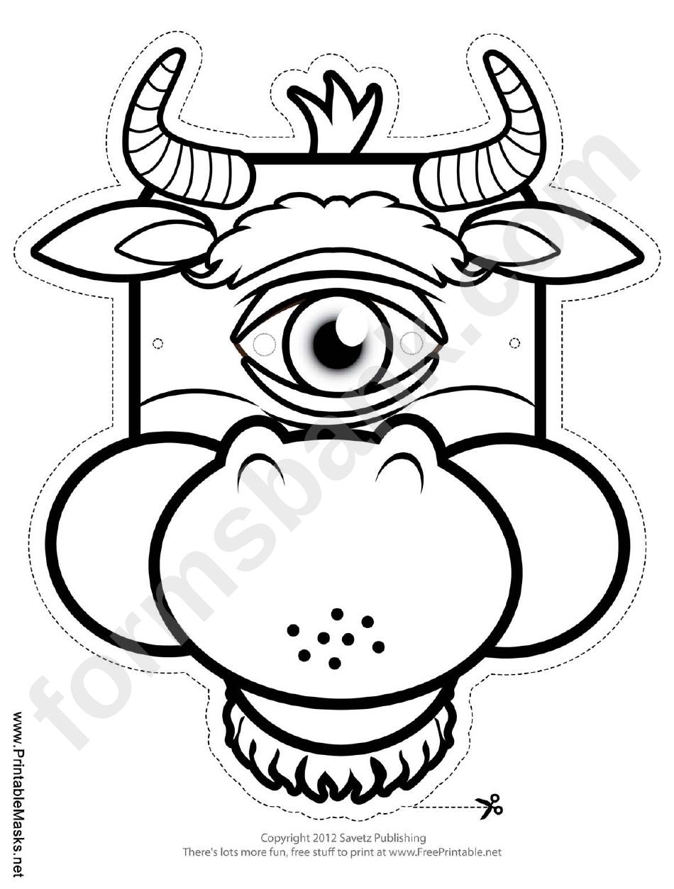 Cyclops Minotaur Outline Mask Template printable pdf download