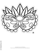 Mardi Gras Elaborate Outline Mask Template