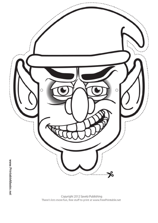 Goblin male outline mask template printable pdf download for Cyclops mask template