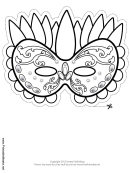 Mardi Gras Celebration Outline Mask Template