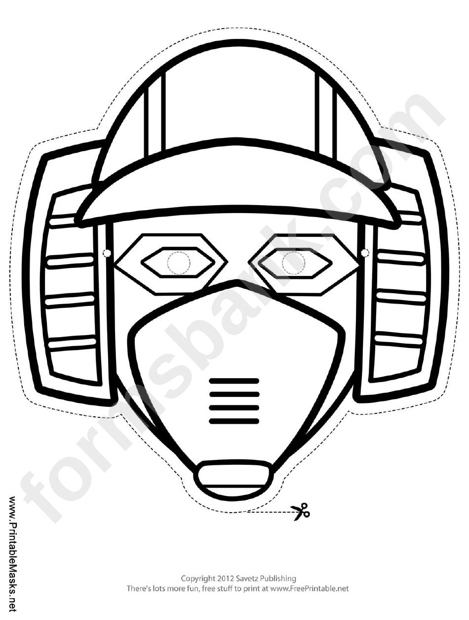 robot horizontal outline mask template printable pdf download
