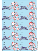 Christmas Candycanes Gift Tag Template