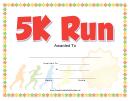 5k Run Certificate