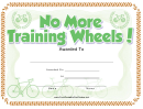 No Training Wheels Bicycle Certificate