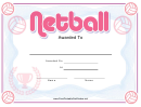 Netball Pink Certificate