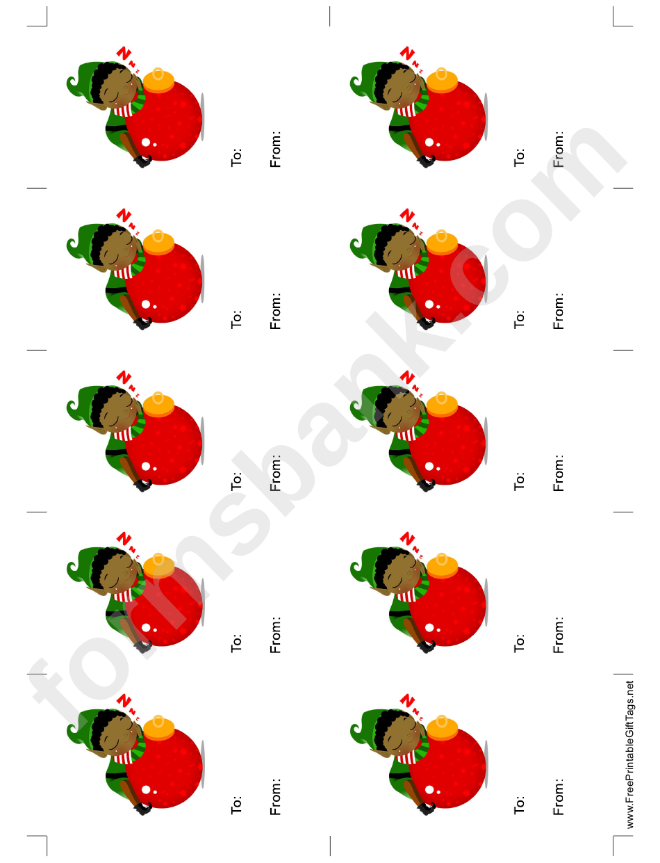 Elf With Ornament Gift Tag Template
