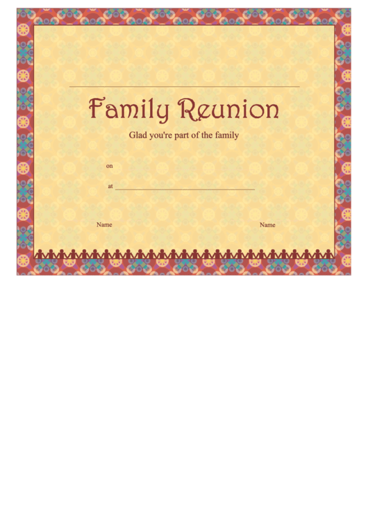 Family Reunion Certificate Template printable pdf    download