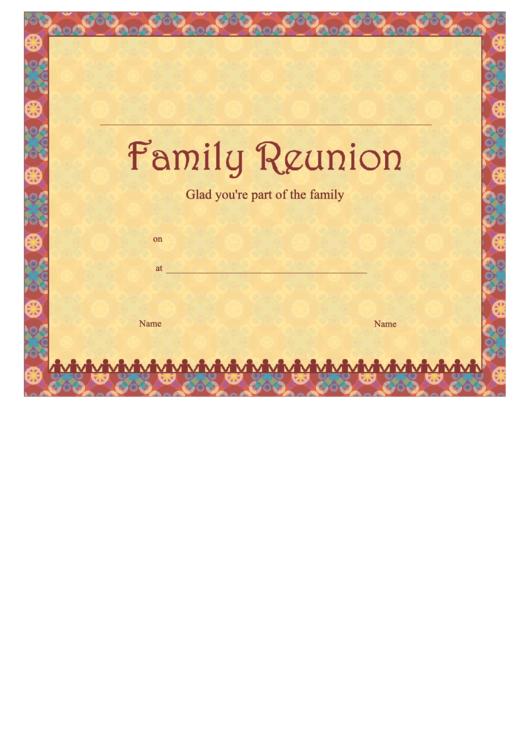Family Reunion Certificate Template Printable pdf